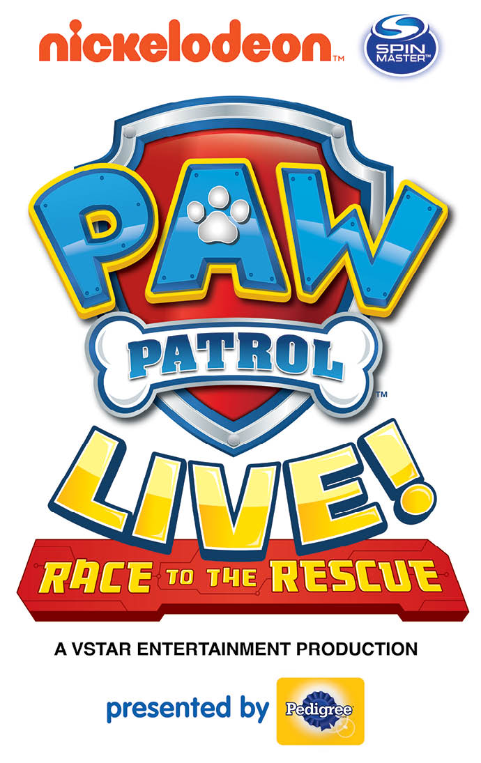 Nickelodeon and Spin Master bring you PAW PATROL LIVE! Race to the Rescue. A VStar Entertainment Production presented by Pedigree.