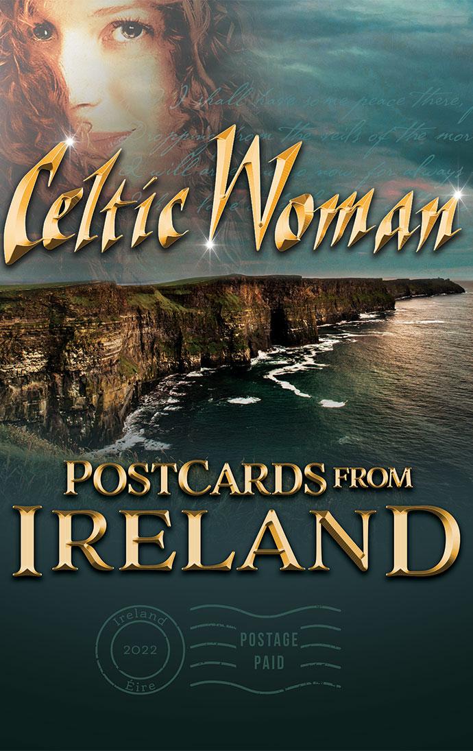 Celtic Woman Postcards from Ireland Key Artwork featuring a photo of the Irish coastline