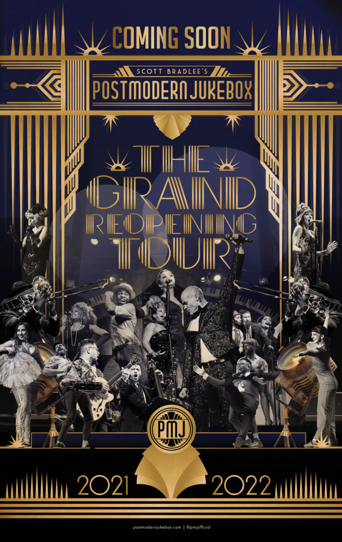 Postmodern Jukebox The Grand Reopening Tour title in blue and gold with musicians and singers