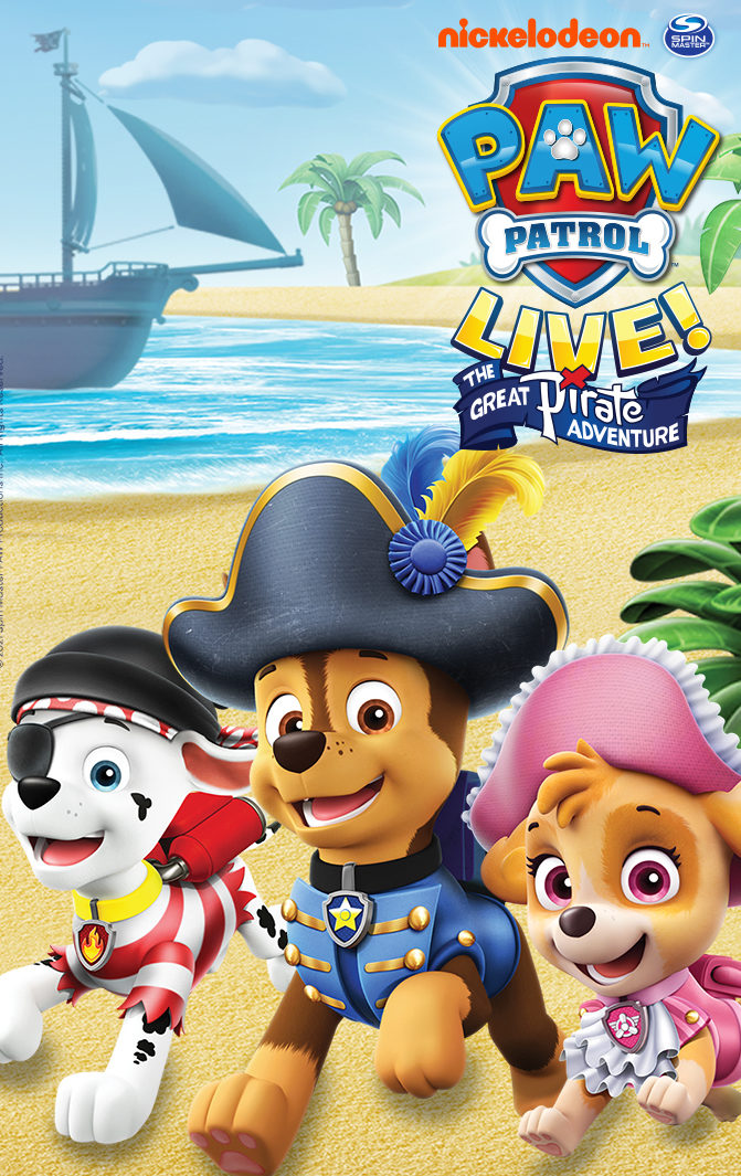 PAW Patrol Live! The Great Pirate Adventure with three cute cartoon puppies in pirate attire